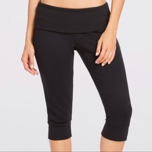 Fabletics Black Cropped Fold over Jogger